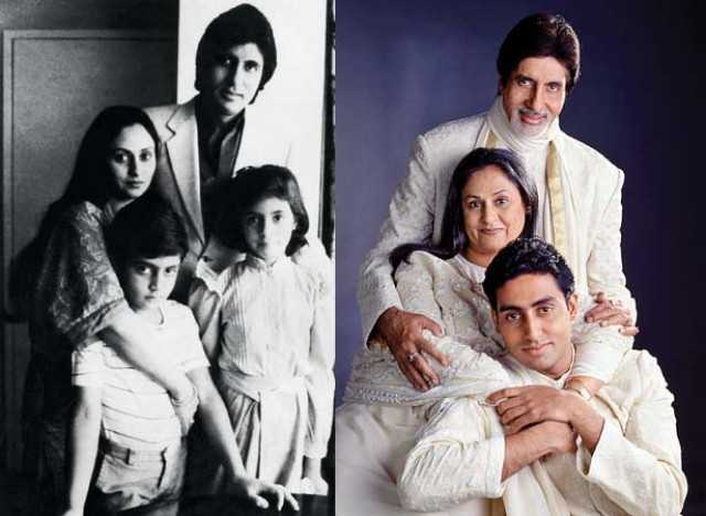 Jaya and Amitabh bachchan with children Abhishek and Shweta in early 80's