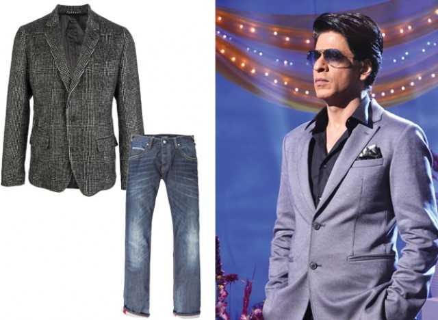 SRK frequents the grey blazer and denims look