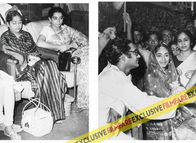 Geeta with a young Lalitha Lajmi (L) Guru Dutt and Geeta on their wedding day (R)