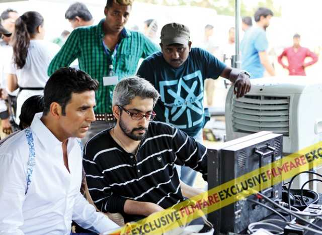 Akshay Kumar checks his shots with director Abhishek Sharma