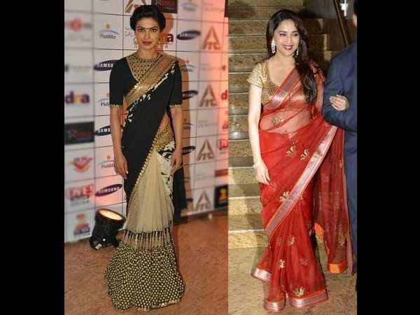 Priyanka Chopra, Madhuri Dixit dazzle in the traditional nine yards!