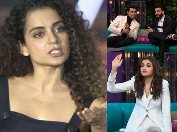 Here's what Kangana Ranaut feels about Alia Bhatt and Ranveer Singh's comments on Koffee with Karan