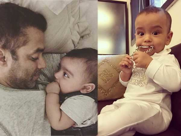 Salman Khan's famous bracelet becomes baby Ahil's latest chewy toy!
