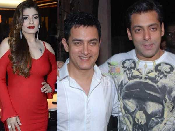 Raveena Tandon cheekily makes fun of Aamir Khan and Salman Khan