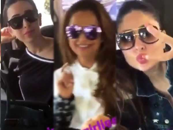 Kareena Kapoor Khan, Karisma Kapoor, Malaika Arora and Amrita Arora are on a road trip and it looks fab!