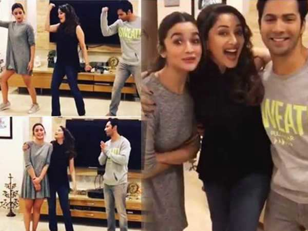 Madhuri dixit Nene makes Varun Dhawan and Alia Bhatt dance to Tamma Tamma