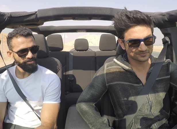 Sushant drives the jeep wrangler around Dubai