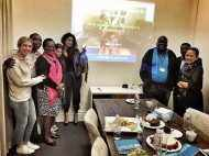 Priyanka Chopra poses with the UNICEF team in Harare