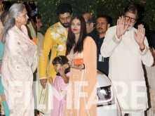 Amitabh Bachchan, Abhishek Bachchan, Aishwarya Rai Bachchan and Aaradhya Bachchan spotted at Ambani's party