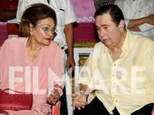 Randhir Kapoor and Krishna Raj Kapoor welcome Ganesh at R K Studio