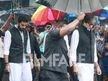 Amitabh Bachchan and Abhishek Bachchan arrive for Shashi Kapoor's funeral