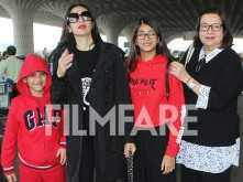 Aunt Karisma Kapoor & Granny Babita Kapoor fly off to celebrate prince Taimur's first birthday