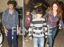 Pictures! Hrithik Roshan and Sussanne Khan enjoy a perfect Sunday movie date with their kids