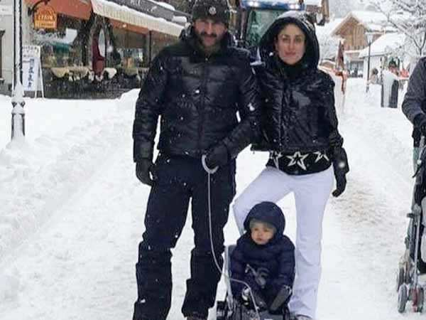 Take a look at Taimur Ali Khan enjoying his first snowfall in Switzerland