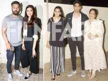 Suneil Shetty, Ahan Shetty, Mana Shetty and Athiya Shetty watch Mubarakan together