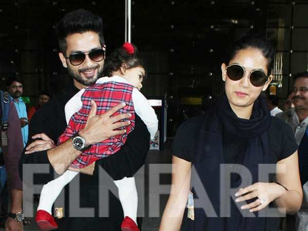 Shahid Kapoor and Mira Kapoor get clicked at the airport with their daughter Misha Kapoor