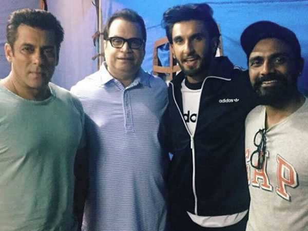 Ranveer Singh pays visit to Salman Khan on the sets of Race 3