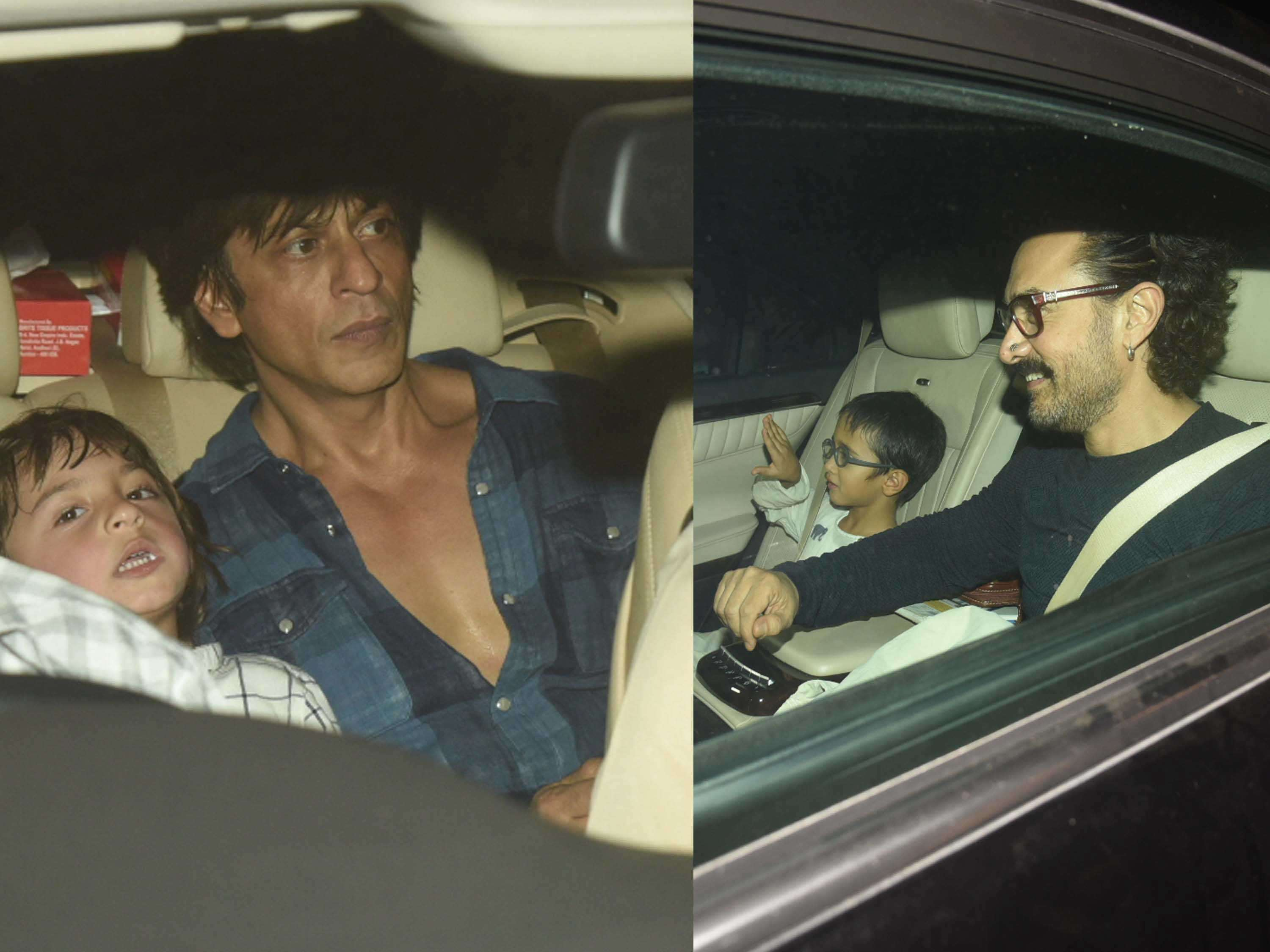 AbRam with Shah Rukh Khan and Azad Rao with Aamir Khan attend Aaradhya Bachchan's birthday party