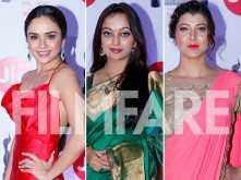 Amruta Khanvilkar, Manasi Naik,Tejaswini Pandit make heads turn at the Jio Filmfare Awards (Marathi)