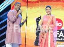 Madhuri Dixit Nene presents Nana Patekar his Best Actor award at the Jio Filmfare Awards (Marathi)