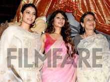 Kajol celebrates Durga Puja with mother Tanuja and sister Tanisha Mukherjee