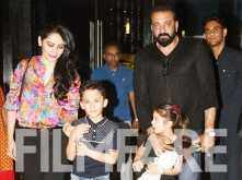 Pictures! Sanjay Dutt and Manyata Dutt enjoy a family dinner with kids