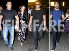 Salman Khan, Jacqueline Fernandez, Bobby Deol and Saqib Saleem return to Mumbai from Abu Dhabi