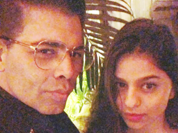 Karan Johar and Suhana Khan strike a pose at Jaya Bachchan's 70th birthday bash