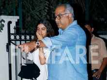 Khushi Kapoor and Boney Kapoor  snapped at Arjun Kapoor's residence