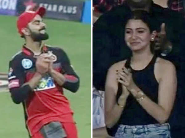 Anushka Sharma blows a kiss to Virat Kohli during his IPL game