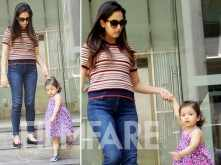 Misha Rajput clicked with mommy Mira Rajput outside her play school