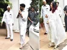 Aishwarya Rai and Abhishek Bachchan arrive at late Rajan Nanda's residence