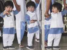 Taimur Ali Khan arrives for Raksha Bandhan celebrations at his Nani's house
