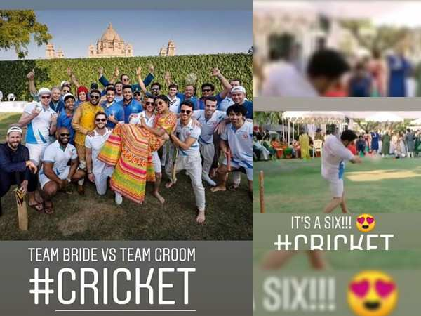 Team groom & team bride indulge in a game of cricket at Nickyanka's mehendi