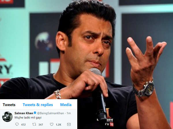 Salman Khan's reveals the reason behind his Mujhe Ladki Mil Gayi tweet