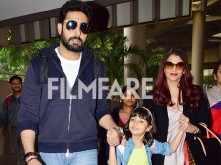 Abhishek Bachchan, Aishwarya Rai Bachchan and Aaradhya Bachchan return from Australia
