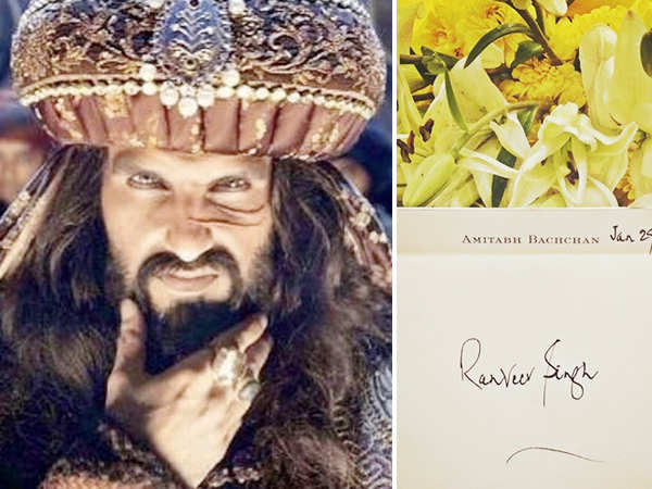 Ranveer Singh feels awarded on receiving a note from Amitabh Bachchan for Padmaavat