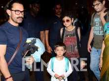 Aamir Khan snapped with Kiran Rao and his sons Azad Rao Khan and Junaid Khan