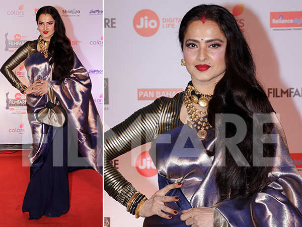 Photos: Eternal beauty Rekha looks stunning at the 63rd Jio Filmfare Awards