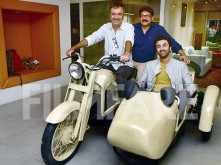 Ranbir Kapoor strikes a pose on the iconic Munna Bhai bike
