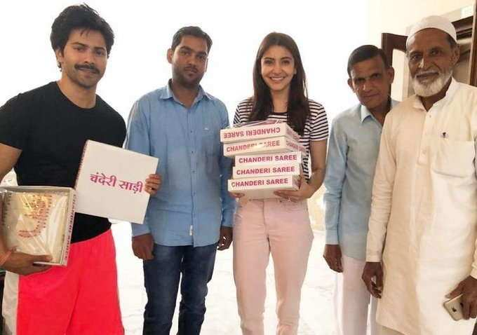 Anushka Sharma and Varun Dhawan will be seen stepping out of their comfort zone in their upcoming film Sui Dhaaga: Made In India. As the name suggests, the film is inspired by the Make in India initiative. Varun and Anushka's looks in the film have garnered a lot of attention, as both, the actors will be seen in an absolutely de-glam look. Sui Dhaaga is being directed by Sharat Katariya and will see Varun and Anushka collaborating for a film for the first time. The film will hit the theatres on September 28. Sui Dhaafa is the story of Mauji, a tailor, played by Varun and Mamta, an embroiderer, played by Anushka. The looks of the characters have already created quite a buzz in the industry as well as among the audience.    Now, a video of Anushka from the sets of the film has come to the surface. Anushka is currently shooting for the film in Bhopal and she is seen doing embroidery in the video, which was posted by Yash Raj Films on their social media account. Take a look at the actress leaving no stone unturned to look the character and ace the intricacies of embroidering as well.