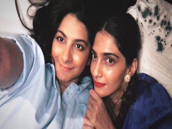 Sonam Kapoor and Rhea Kapoor click a selfie as they wait to wrap up work