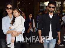 Shahid Kapoor, Mira Kapoor and Misha Kapoor snapped at the Mumbai airport