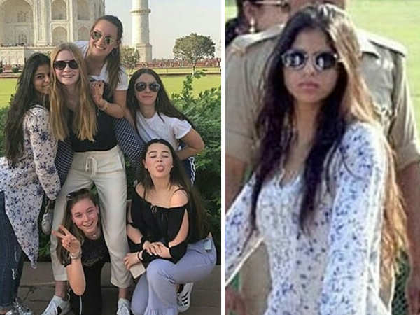 Suhana Khan and her friends have a gala time as they visit the Taj Mahal