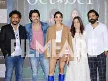 Varun Dhawan, Banita Sandhu and Shoojit Sircar launch the trailer of October