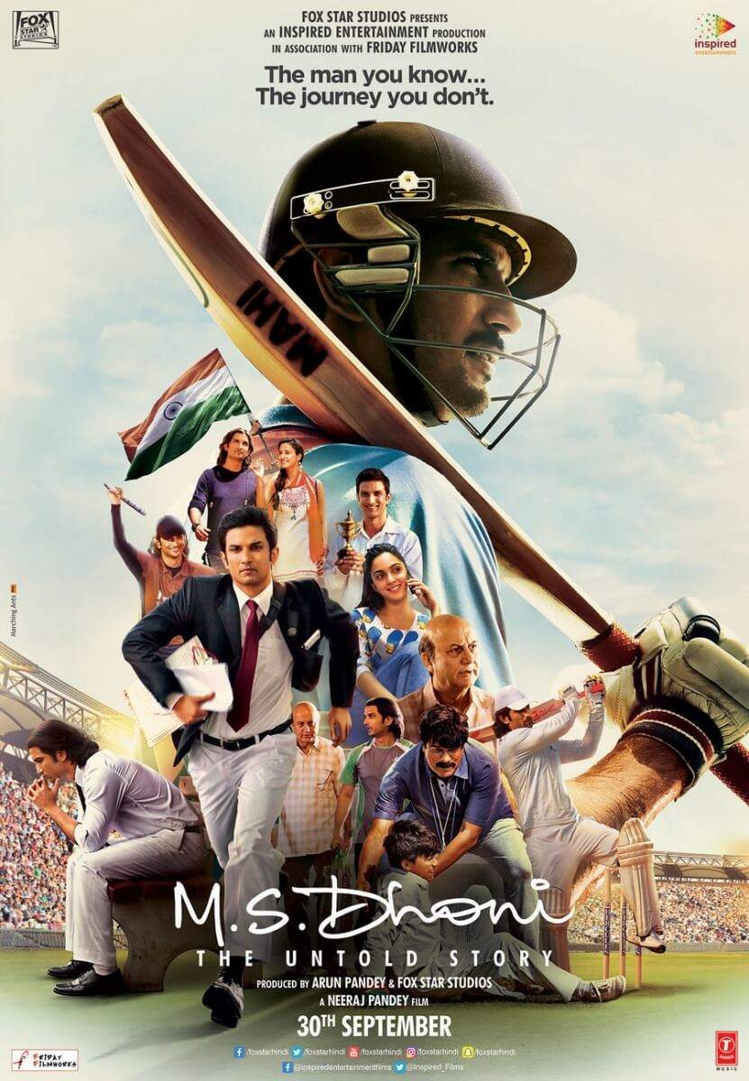 """M.S Dhoni : The Untold Story  Cast : Sushant Singh Rajput, Disha Patani, Kiara Advani, Anupam Kher and Bhumika Chawla  Director: Neeraj Pandey  Release Date: 30 September 2017   pastedGraphic.png        Sushant Singh Rajput looks exactly like Mahendra Singh Dhoni in this biopic. Whether it's the body language, the cricketing shots or his characteristic simplicity, the actor has channelized every aspect of the superstar cricketer with great effect. In this film, we also saw an excellent implementation of CGI. During the film, many iconic moments in Dhoni's career like winning the t20 world cup and winning the ODI World Cup were recreated. While the makers used the original videos in the film, we see Sushant's face instead of Dhoni. The scenes are so convincing that if we had not seen the actual version with Dhoni in it, we would never be able to tell if they have replaced someone's face in it. The most authentic part of his portrayal seems the walk. Sushant spent hours in the net not only to improve his cricketing skills but also to replicate Dhoni's body language while he is in the middle of the ground. If you have ever seen him play, you know that Dhoni's batting style and technique is way different from others. Some might even call it unconventional but nobody can argue that it has not worked for him.  So, along with the graphics, it was also extremely important for Sushant Singh Rajput had to replicate the way Dhoni takes his stance while batting, the way he cuts, the way he drives etc. He also spoke about the same in an interview with a leading daily. He said, """"It was not tough (to play Dhoni in film) because of the expectations of the audience. We as actors have to convince ourselves that we are the characters. I had strong visual reference of him, so it was a difficult task for me, I immersed into the film completely. When I was shooting for the film on day one, I did not pretend to be Dhoni, I was Dhoni. On the first day, by the end I got that helicopter shot"""