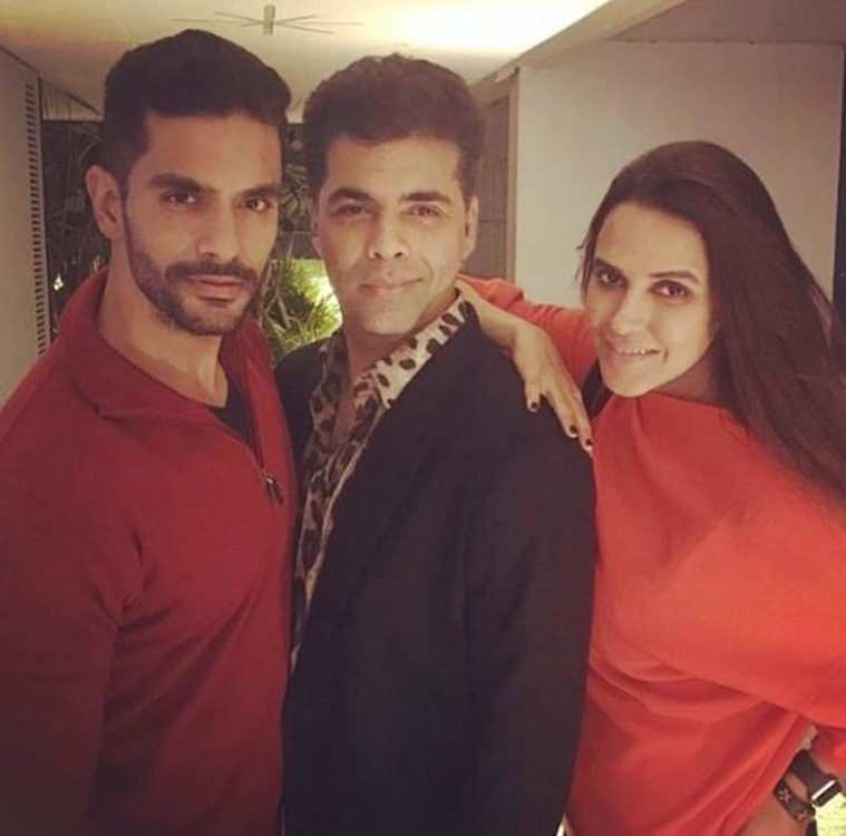 vKaran Johar played cupid for Neha Dhupia and Angad Bedi