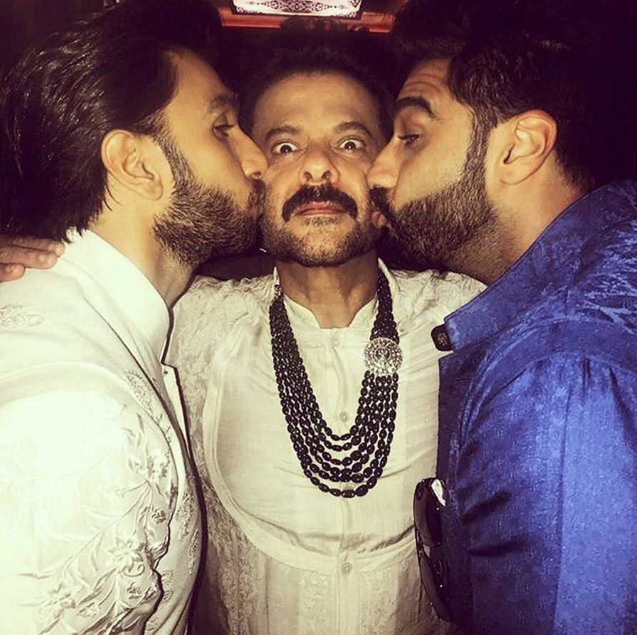The ultimate bromance   Not only does Anil Kapoor look younger than he is he also behaves the same way. As his eldest daughter tied the knot with long time beau Anand Ahuja he was joined by his family and friends from the industry in the celebration. The pictures and videos that we have seen from the festivities during the grand wedding were enough proof to conclude that Anil Kapoor just doesn't age. In this picture shared by Ranveer Singh, we can see Anil Kapoor getting goofy with Arjun Kapoor and Ranveer Singh.
