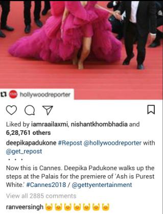 Deepika Padukone's at at Cannes 2018 have left Ranveer Singh bedazzled