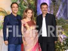 Vidhu Vinod Chopra, Kangana Ranaut, Raju Hirani at Sonam Kapoor's reception